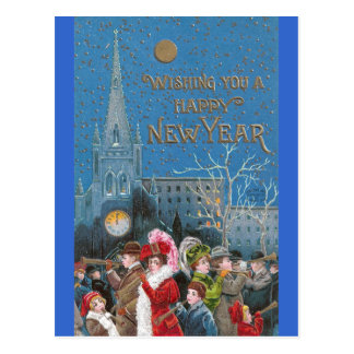 Crowd of Happy Revelers with Horns on New Year's Postcard
