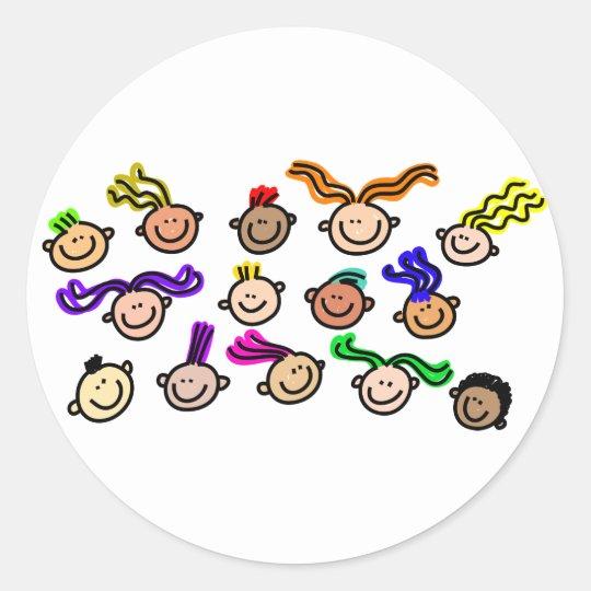 Crowd Of Kids Classic Round Sticker