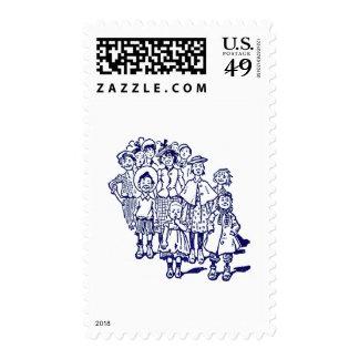 Crowd of Kids Postage Stamp