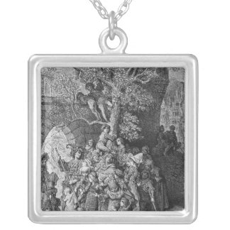 Crowd of onlookers and spectators at the silver plated necklace