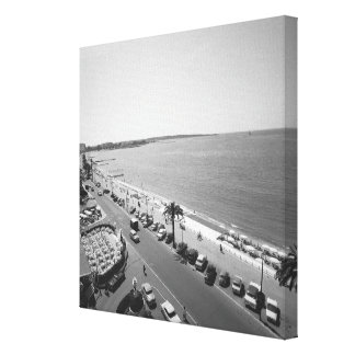 Crowd of people on beach B&W elevated view Canvas Print