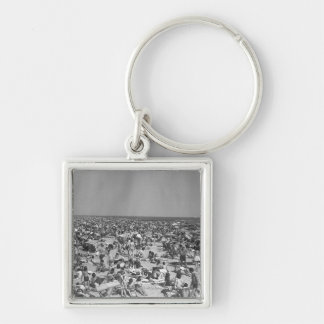 Crowd of people on beach B&W elevated view Keychain