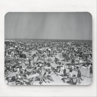 Crowd of people on beach B&W elevated view Mouse Pad