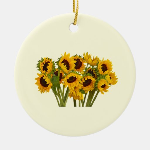Crowd of Sunflowers Double-Sided Ceramic Round Christmas Ornament