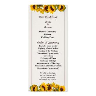 Crowd of Sunflowers Wedding Program Custom Rack Cards