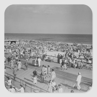 Crowd on Beach Square Sticker