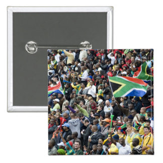Crowd shot at a soccer game, with South African Pinback Button