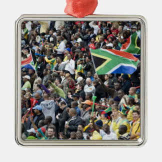 Crowd shot at a soccer game, with South African Ornament