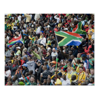 Crowd shot at a soccer game, with South African Poster