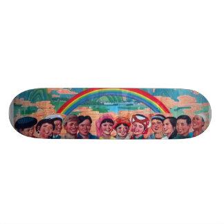 Crowd w/ Rainbow Skateboard