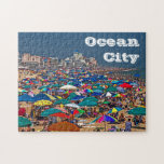 "Crowded Beach in Ocean City Jigsaw Puzzle<br><div class=""desc"">&quot;Summer~time and the livin&#39; is easy&quot; - unless you&#39;re trying to find a spot on the beach in Ocean City,  that is. If you would like yet another beachy challenge you might want to give this Ocean City Jigsaw Puzzle a try (or to give it as a gift).</div>"
