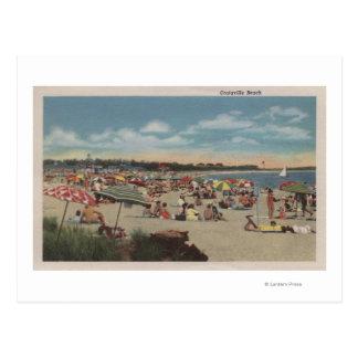 Crowded Beach Scene Postcard