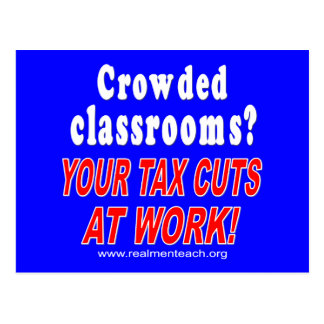 Crowded classrooms blue postcards