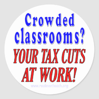 Crowded classrooms round sticker
