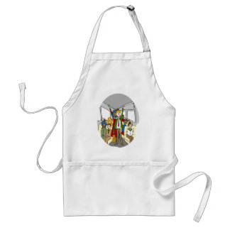 Crowded People Bus Riders Adult Apron
