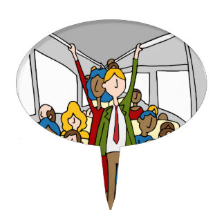 Crowded People Bus Riders Cake Topper