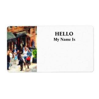 Crowded Sidewalk in New York Label