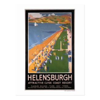 Crowds along Clyde Coast Beach Railways Poster Post Cards