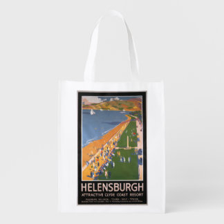 Crowds along Clyde Coast Beach Railways Poster Market Totes