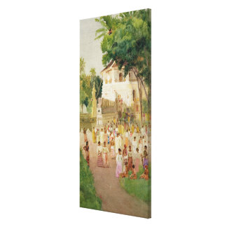 Crowds at a Monument in India, 1895 (w/c & pencil Stretched Canvas Print