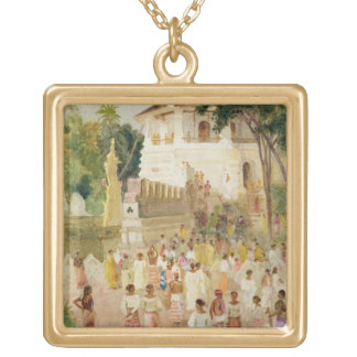 Crowds at a Monument in India, 1895 (w/c & pencil Gold Plated Necklace