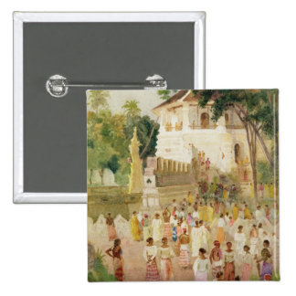 Crowds at a Monument in India, 1895 (w/c & pencil Pinback Button