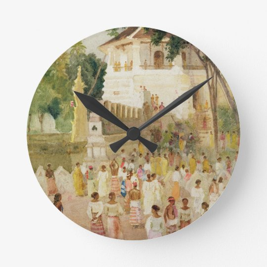 Crowds at a Monument in India, 1895 (w/c & pencil Round Clock