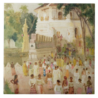 Crowds at a Monument in India, 1895 (w/c & pencil Large Square Tile