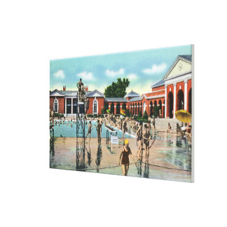 Crowds at Saratoga Spa Swimming Pool Stretched Canvas Prints