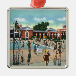 Crowds at Saratoga Spa Swimming Pool Christmas Tree Ornament