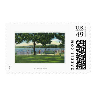 Crowds at the Beach and Park on Chautauqua Postage