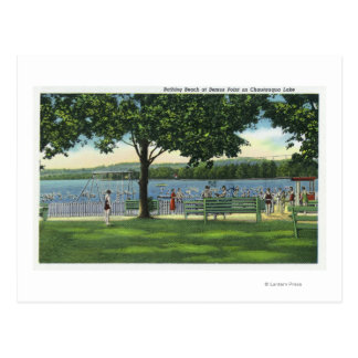 Crowds at the Beach and Park on Chautauqua Postcard