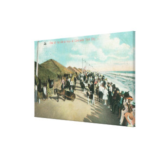 Crowds Gathered in a Line at Tent City Canvas Print