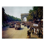 Crowds of French Patriots line the Champs Elysees Print