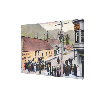 Crowds on Broadway and McKinley Street Gallery Wrapped Canvas