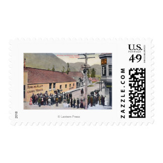Crowds on Broadway and McKinley Street Stamp