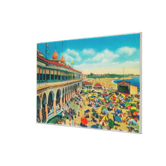 Crowds on the Beach in front of the Casino Stretched Canvas Print