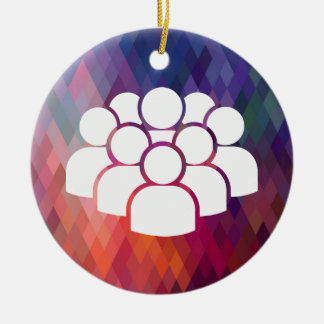 Crowds Pictogram Double-Sided Ceramic Round Christmas Ornament