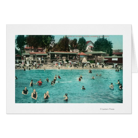 Crowds Swimming at Alameda BeachAlameda, CA Card