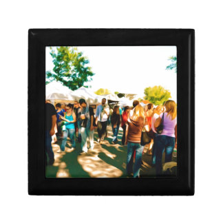 Crowds Walk To The Arts And Crafts Booths Keepsake Box