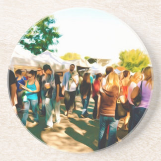 Crowds Walk To The Arts And Crafts Booths Sandstone Coaster