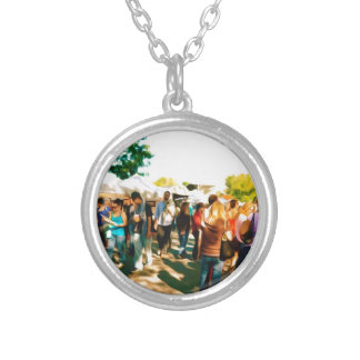 Crowds Walk To The Arts And Crafts Booths Silver Plated Necklace