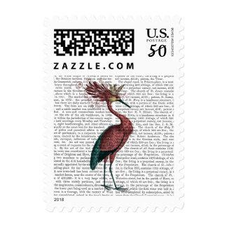 Crowed Marsala Heron Postage