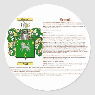 Crowell (meaning) classic round sticker