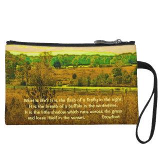 Crowfoot wisdom on life wristlet purses