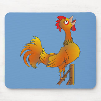Crowing cartoon bantam rooster mouse pad