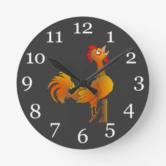 Crowing cartoon bantam rooster round clock