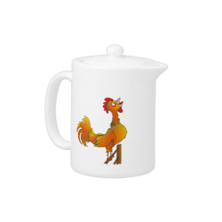 Crowing cartoon bantam rooster teapot