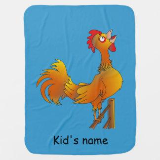 Crowing cartoon rooster baby blanket