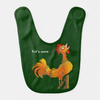 Crowing cartoon rooster bib